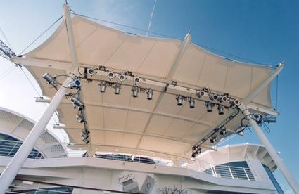 Sun shade awning for stage by ACS Production canopy Tensile membrane structure